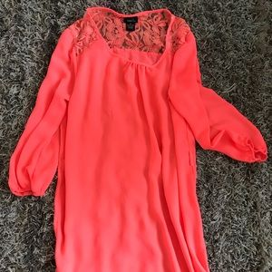 Neon coral/ pink dress